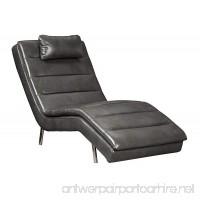 Ashley Furniture Signature Design - Goslar Contemporary Faux Leather Chaise - Gray - B07CRJNLRS