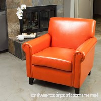 Christopher Knight Home 216739 Rolled Arm Leather Burnt Club Chair Orange - B07D8L1M33