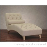 Cleo Natural Linen Indoor Chaise Lounge Chair Soft Foam Cushion with Elegant and Soft Diamond Design - B00XLDI55U