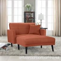Divano Roma Furniture Modern Linen Fabric Recliner Futon Chaise Lounge - Futon Sleeper Single Seater (Orange) - B073X4S9V6