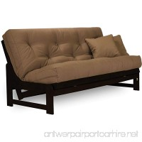 Arden Armless Dark Espresso (Near Black) Wood Futon Frame Full or Queen Size - Solid Hardwood Sofa Bed Frame Construction Space Saving Design Ideal for RV Small Rooms and Dorms - B074CRWMSG