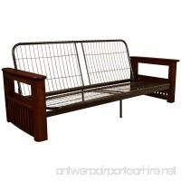 Epic Furnishings Chicago Storage Arm Style Futon Sofa Sleeper Bed Frame Queen-size Mahogany Arm Finish - B013EACSIY