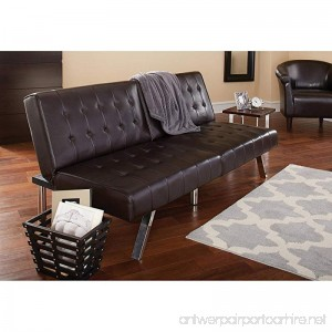 Morgan Faux Leather Tufted Convertible Futon Brown Modern Look Quickly Converts from Sofa to Lounger to Sleeper Click-clack Technology Strong Stainless Steel Legs + Expert Guide - B077JN8M8Y