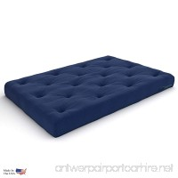 Extra Thick Premium 10-Inch Queen Futon Mattress Navy Twill - Made in USA - B01A68J1AU