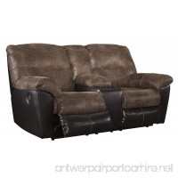 Ashley Furniture Signature Design - Follett Overstuffed Upholstered Double Reclining Loveseat w/Console - Contemporary - Coffee - B01JAD0CHS