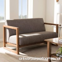 Baxton Studio Valencia Mid-Century Modern Walnut wood Finished Gravel Fabric Upholstered 2-Seater Loveseat - B01MU1GZIK