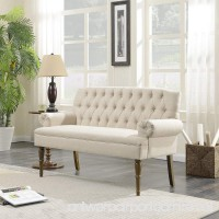 Belleze Button Tufted Mid-Century Settee Upholstered Vintage Sofa Bench with Linen Fabric Wood Legs  White - B0792J9FFZ