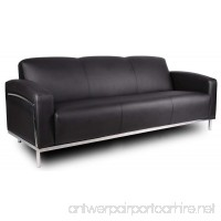 Boss Office Products BR99003-BK CaressoftPlus Sofa with Chrome Finish in Black - B002FB6ZG0