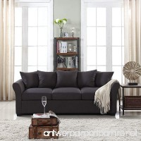 Classic and Traditional Ultra Comfortable Linen Fabric Sofa - Living Room Fabric Couch (Dark Grey) - B06ZZCDG5S