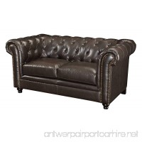 Coaster Roy Traditional Button Tufted Love Seat with Rolled Back and Arms Brown - B00FRU301E