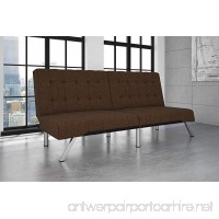 DHP Emily Futon Couch Bed  Modern Sofa Design Includes Sturdy Chrome Legs and Rich Linen Upholstery  Brown - B06X9FKZG1