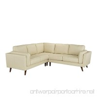 Divano Roma Furniture - Mid Century Modern Tufted Real Leather Sectional Sofa (Beige) - B07BSSVLRW