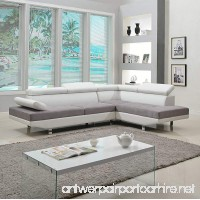 Divano Roma Furniture Modern Contemporary Designed Two Tone Microfiber and Bonded Leather Sectional Sofa - B01IE7X8AO