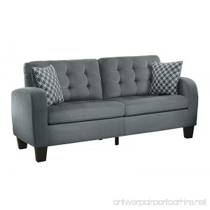 Homelegance Sinclair Tufted Accent Sofa with Two Geometric Pattern Toss Pillows Grey - B01N56298D