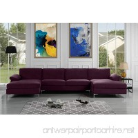 Modern Large Velvet Fabric U-Shape Sectional Sofa Double Extra Wide Chaise Lounge Couch (Purple) - B076TWDRCG