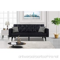 Modern Tufted Bonded Leather Sleeper Futon Sofa with Nailhead Trim in White Black (Black) - B019S8NJO8