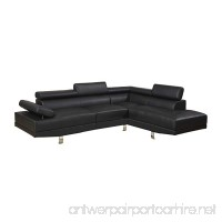 Poundex B00NNKC6VK Sectional Sofa  Black - B00NNKC6VK