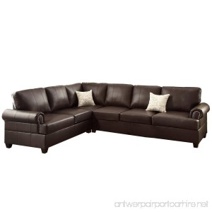 Poundex F7770 Bobkona Cady Bonded Leather Left or Right Hand Reversible Sectional Espresso - B01BVY0VMA
