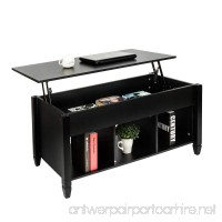 Bonnlo Lift Top Coffee Table with Storage Shelf w/Hidden Compartment and 3 Lower Open Shelves for Living Room (Black) - B07DNVW9RZ