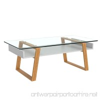 bonVIVO Designer Coffee Table Donatella  Modern Coffee Table For Living Room  White Coffee Table  Coffee or Side Table With Natural Wood Frame and Glass Top  Coffee Tables - B06VVXJ6BH