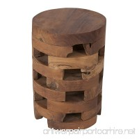 East at Main Hixson Brown Teakwood Round Accent Table (12x12x18) - B01LYFGCUR