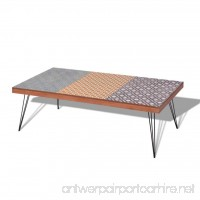 Festnight Retro Vintage Style Coffee Table with Durable Metal Legs 47.2x 23.6x 15 Brown/Grey - B077P6L28Q