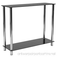 Flash Furniture Riverside Collection Black Glass Console Table with Shelves and Stainless Steel Frame - B0797N5JTS