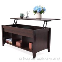 LAZYMOON Lift Top Coffee Table Laptop Desk Storage Compartment Solid Wood Home Furniture - B07B3JGGBP