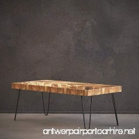 Mindful Living Solid Wood Coffee Table with Chevron Pattern and Midcentury Modern Legs - B07BDQ9W23