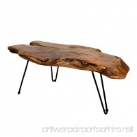 Natural Wood Edge Teak Coffee Cocktail Table with Clear Lacquer Finish - B01MQR43BH