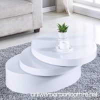 NewRetailGlobal White Round Coffee Table Rotating Contemporary Living Room Furniture - B07D92D9YY