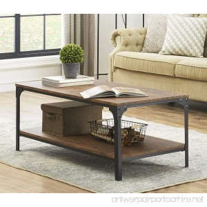 O&K Furniture Industrial Rectangular Coffee Table with Storage Bottom Shelf Brown 1-Pcs - B076S4JP1W