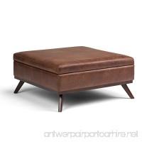 Simpli Home Owen Square Coffee Table Ottoman with Storage Distressed Saddle Brown - B072KDDBLT