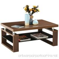 totoshop Modern Glass Rectangular Coffee End Table Shelf Living Room Furniture W/Storage - B07C4W1XCW