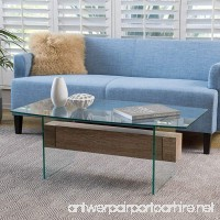 Wilmington Tempered Glass and Wood Coffee Table - B01NCHL6RY