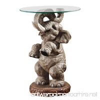Design Toscano Good Fortune Elephant African Decor Glass Topped Side Table  21 Inch  Polyresin  Full Color - B003M0JV5K