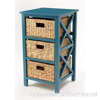 eHemco 3 Tier X-side End Table/Storage Cabinet with 3 Baskets(Teal) - B079XSQGCZ