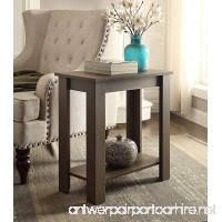 Espresso Finish 2-tier Chair Side End Table with Shelf - B01LXHL8J9