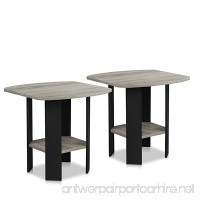 Furinno 2-11180GYW Simple Design End Table (Set of 2) Oak Grey/Black - B01D30R1RS