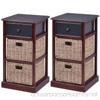 Giantex 2 Pcs 3 Tier Nightstand End Table w/ 1 Drawer 2 Basket Wood Bedside Sofa Table Organizer Home Bedroom Living Room Furniture Red Brown - B079Q6WYT7