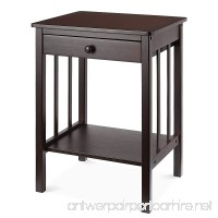 HOMFA Bamboo Night Stand End Table with Drawer and Storage Shelf Multipurpose Home Furniture  Dark Brown - B07CHK1T1S