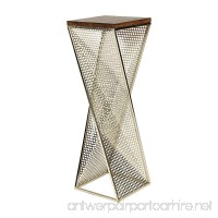 Kate and Laurel Elita Walnut Wood and Metal Pedestal End Table - B01L80KUY6