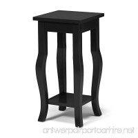 Kate and Laurel Lillian Wood Pedestal End Table Curved Legs with Shelf  Black - B01H41VI3A