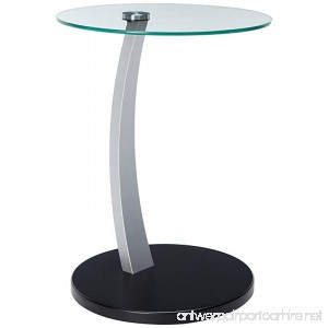 Monarch Specialties Bentwood Accent Table with Tempered Glass Black/Silver - B008VQ2XFA