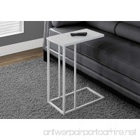 Monarch Specialties White Metal Accent Table with Frosted Tempered Glass - B00QUEA3S4