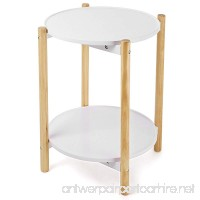 SONGMICS 2-Tier Side Table Scandinavian End Table with Removable Trays Round Coffee Table with Solid Pine Legs Nature White ULET08WN - B078WPF4LH