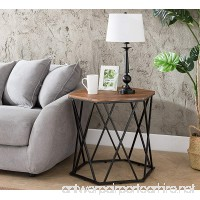 Vintage Brown/Metal Frame Hexagon Chair Side End Table 24 H by eHomeProducts - B07D3FC67H