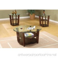 3 Pc. Set Solid Wood Coffee Table with 2 End Tables 8mm Beveled Glass Top with Two Shelves in Espresso Finish - B004MGAEZ4