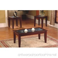 3-Piece Fax Marble Top Cherry Coffee Table and End Table Set - B01K1FGZ1Q