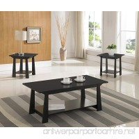 3-Piece Kings Brand Casual Coffee Table & 2 End Tables Occasional Set  Black Finish Wood - B01K0AZD74